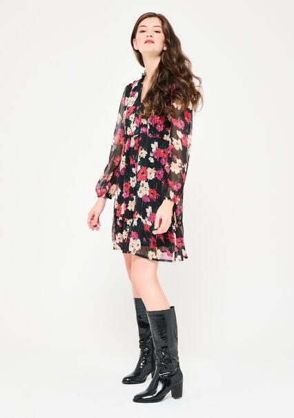 Halflange jurk met bloemen en lurex - RED DHALIA - 08102653_1433