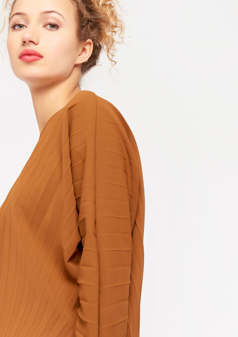 Plissé t-shirt met lange mouwen - TOFFEE BROWN - 02400088_1154