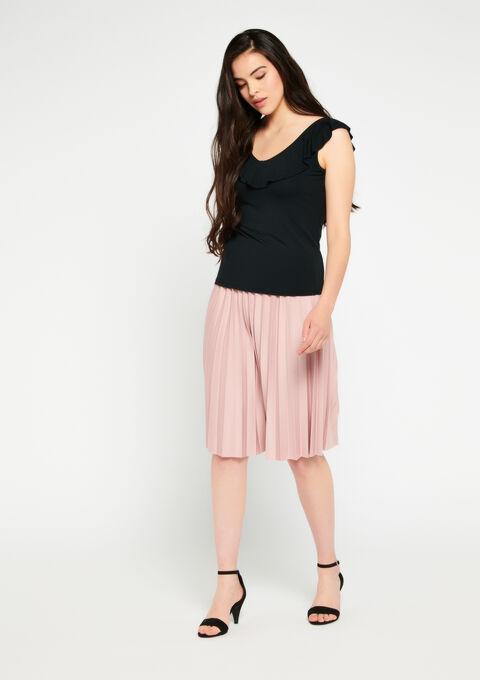 T-shirt korte mouwen ruches - BLACK - 02100157_1119