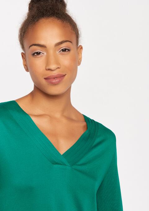 T-shirt met v-hals en lange mouwen - GREEN RANKING - 02400067_4611