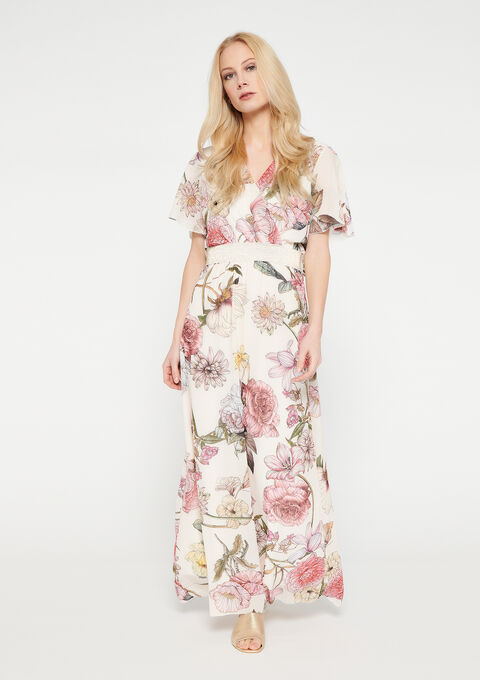 Maxi jurk met bloemenprint en mouwtjes - OFFWHITE - 08601120_1001