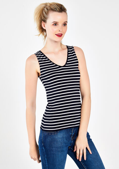 Striped tanktop with V-neck - PEACOAT BLUE - 02005338_1655