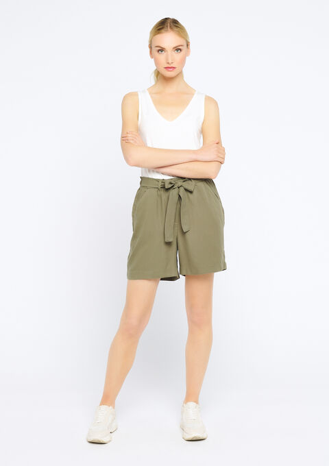 Short in tencel - KHAKI DARKY - 06100165_4208