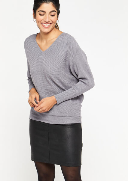 Sweater open back - GREY MIST MEL - 04005150_3609