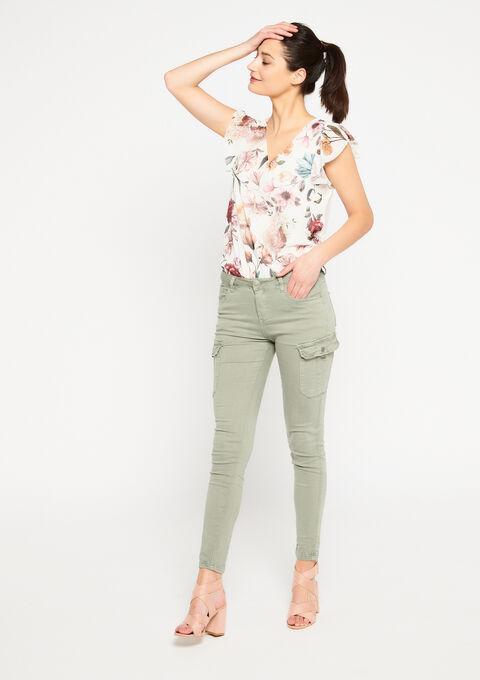 T-shirt met bloemenprint - WHITE ALYSSUM - 947180