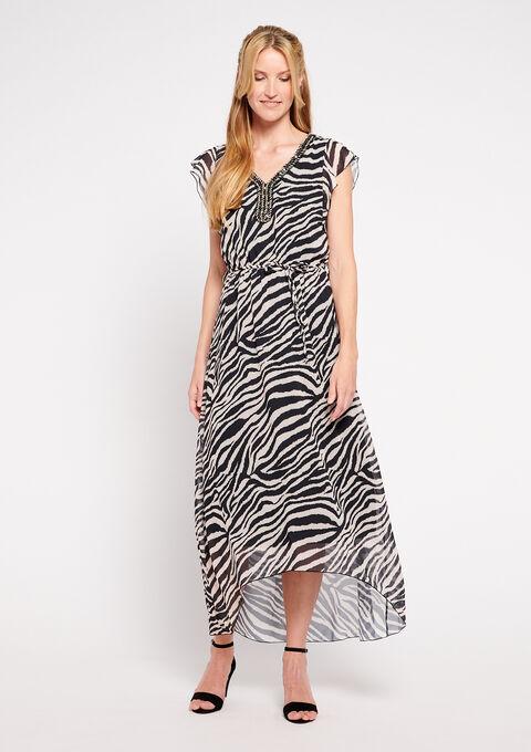 Maxi v-neck dress with zebra print - BLACK BEAUTY - 08600140_2600