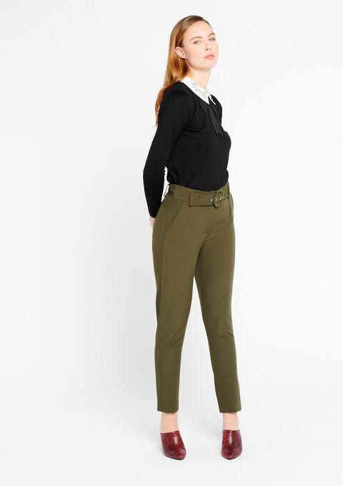 Elegante broek met riem - KHAKI TAUPE - 06100185_1863