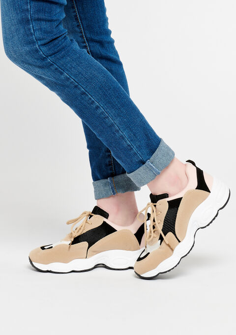 Sneakers, large semelle, couleurs trendy - PINK CALM - 13000364_4102