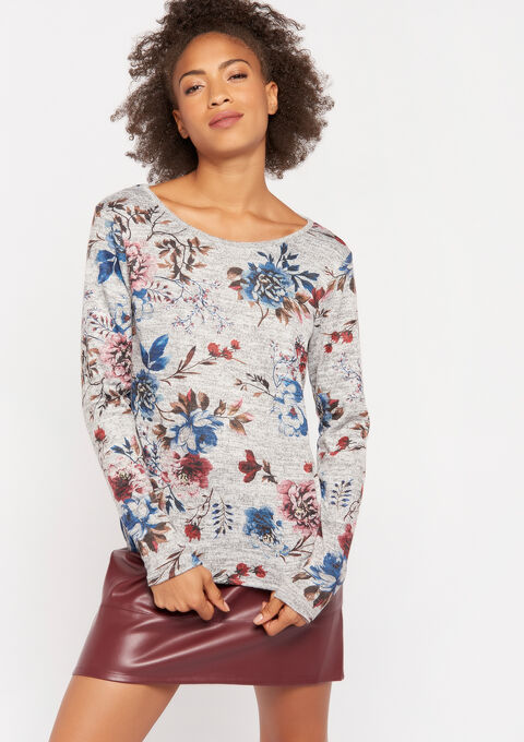 Sweater met bloemenprint - GREY MILD MEL. - 03001424_3504
