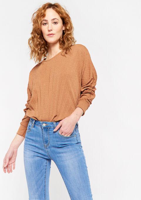 Plissé t-shirt met lange mouwen - CAMEL COFFEE - 02400115_3817