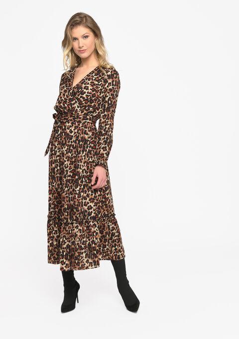 Maxi cache-coeur jurk met luipaardprint - TOFFEE BROWN - 08601070_1154