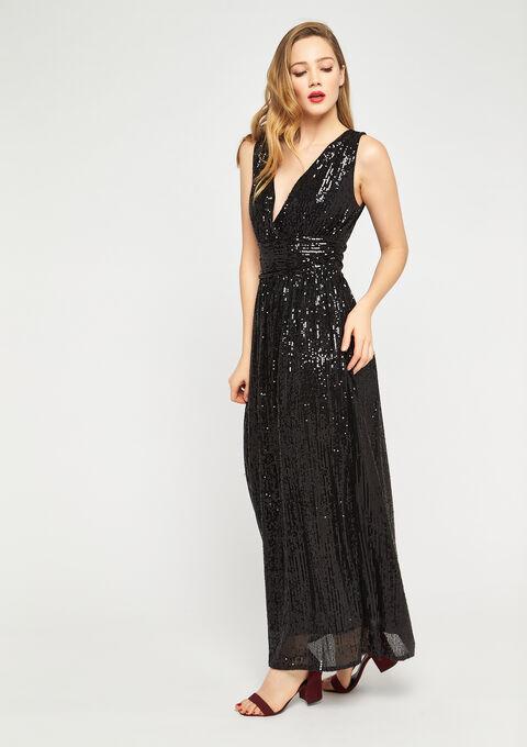 Maxi robe à sequins Tatiana Silva - BLACK - 08601040_1119