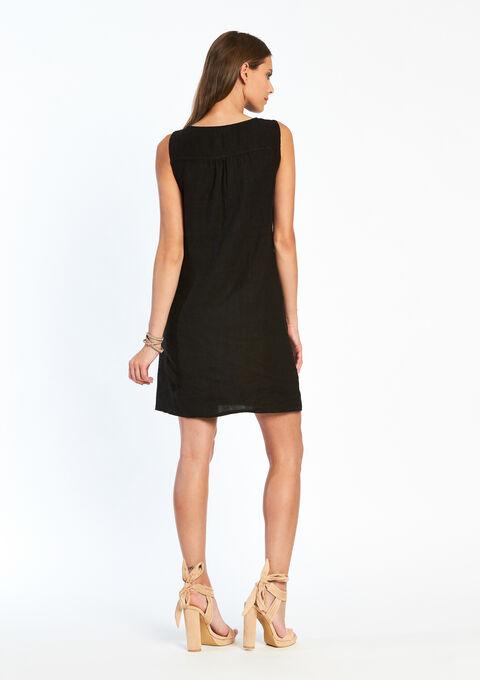Effen jurk met korte mouwen - BLACK - 08005034_1119