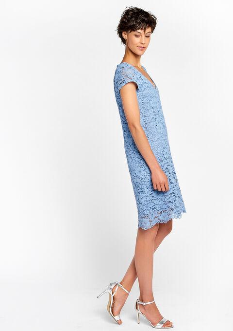 Kanten jurk effen - MASSI BLUE - 08100039_2912