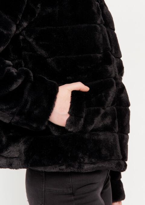 Korte mantel in imitatiebont - BLACK - 23000100_1119