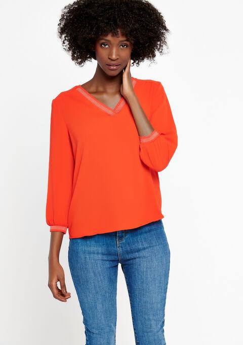 Effen blouse met v-hals - FLAME RED - 05700155_1389