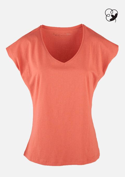 T-shirt organic katoen - VIBRANT CORAL - 02300600_5408