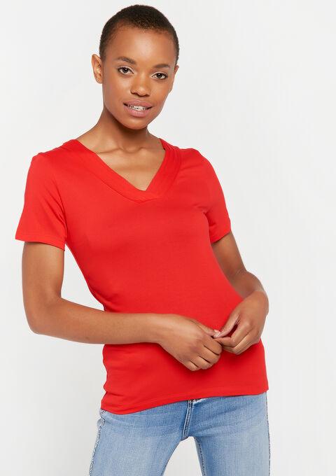 Effen korte mouwen t-shirt - REAL RED - 945381