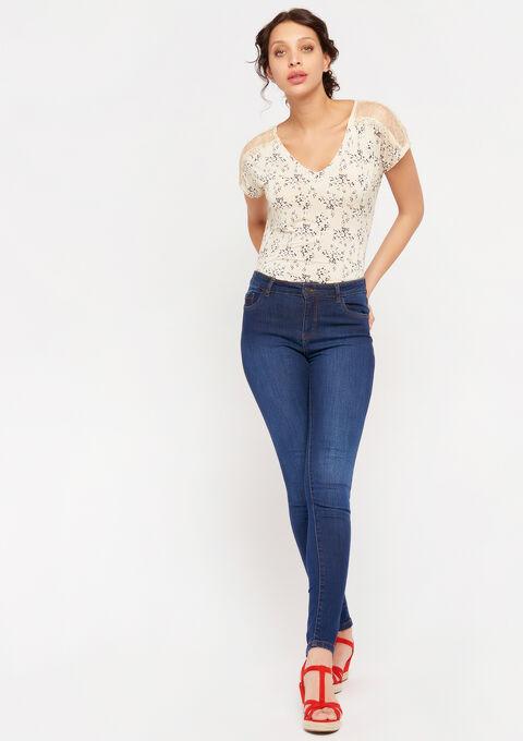 T-shirt met kant en bloemenprint - BEIGE ECRU - 02300693_4022