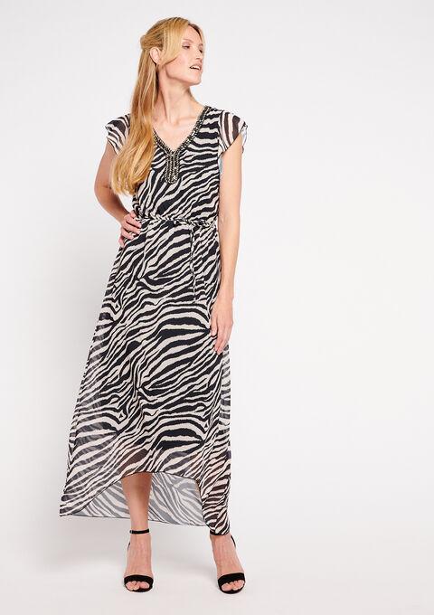 Robe longue  zèbre col-v - BLACK BEAUTY - 948148