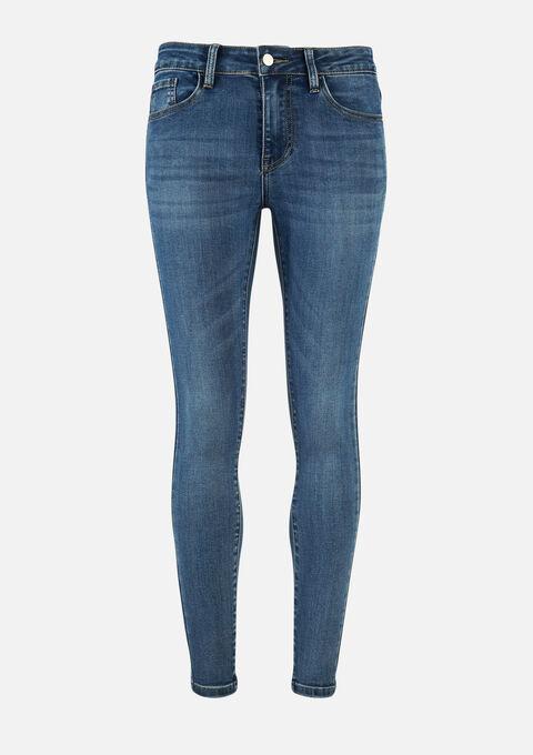 Skinny jeans met strass steentjes - MEDIUM BLUE - 22000244_0500