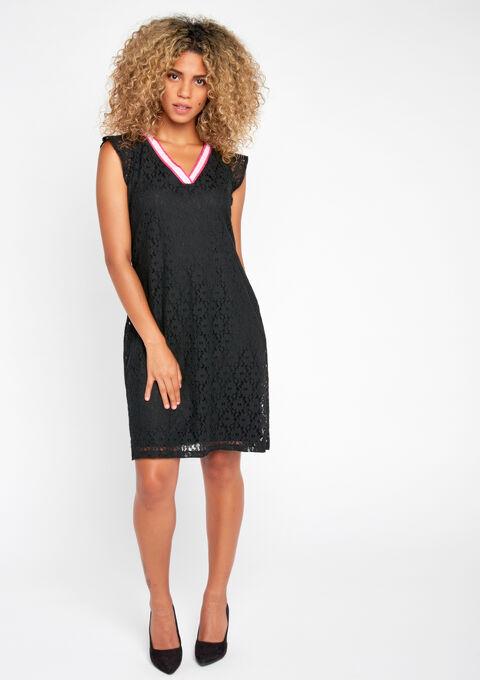 Kanten jurk met strik op de rug - BLACK - 08100077_1119