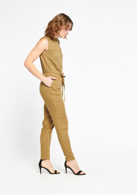 Sleeveless jumpsuit - KHAKI DUSKY - 06003851_4402