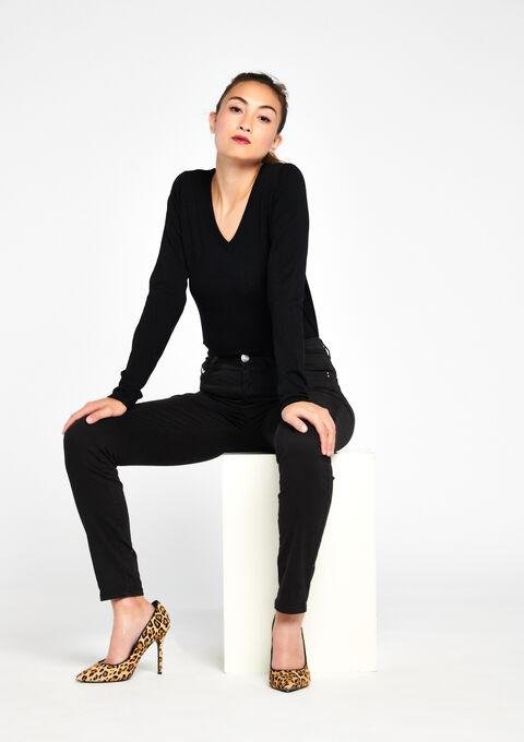 Slim fit broek met hoge taille - BLACK - 06003549_1119
