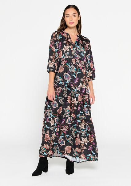 Robe en satin avec imprimé floral - BLACK BEAUTY - 08601475_2600