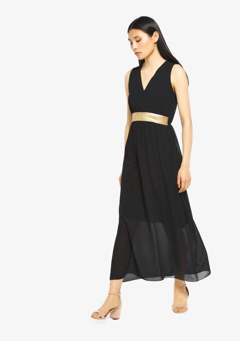 Robe longue, cache coeur, unie - BLACK BEAUTY - 08600142_2600