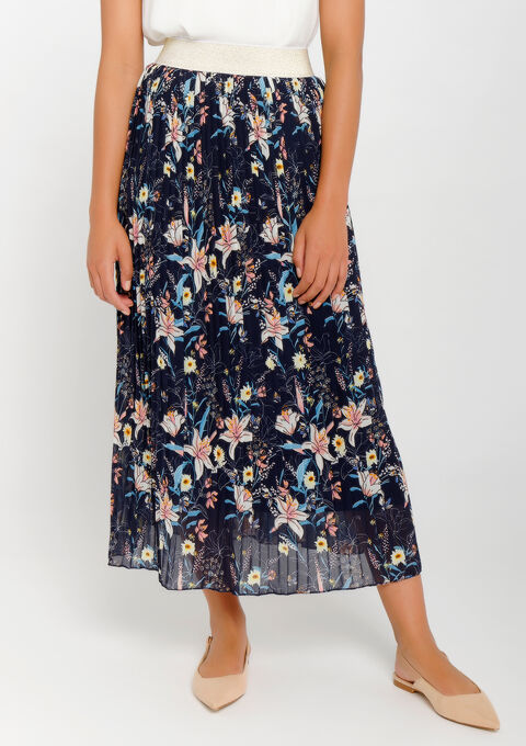 Lange plissérok met bloemenprint - BLACK IRIS - 967269