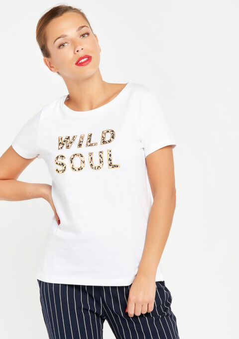 T-shirt met quote - OPTICAL WHITE - 02300122_1019
