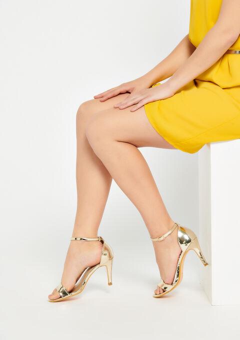 Golden sandals, high heel - GOLD - 13000368_1058