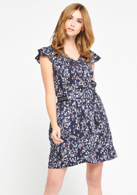 Robe imprimée fleurs - NAVY BLUE - 08100597_1651