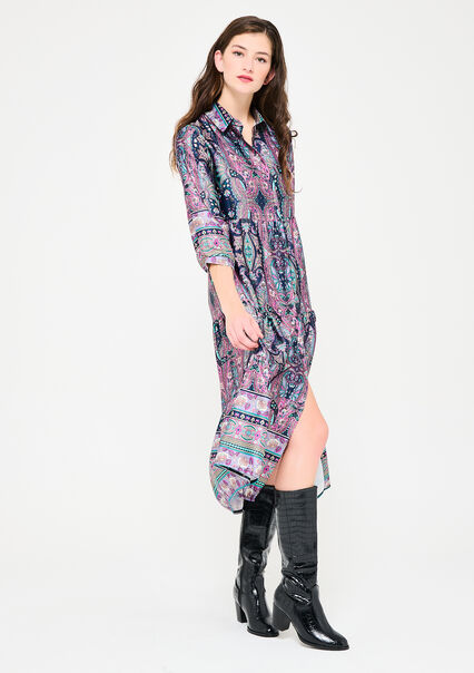 Lange overhemd jurk met kleurrijke print - PURPLE FESTIVAL - 08601458_5910