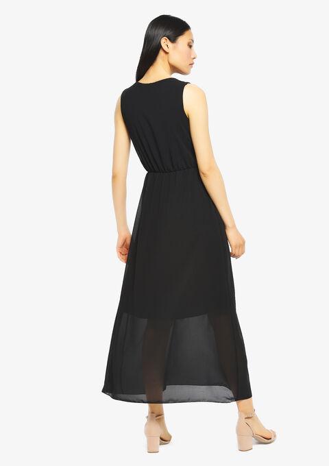 Robe longue, cache coeur, unie - BLACK BEAUTY - 951270