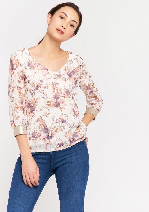 T-shirt 3/4 mouwen en bloemenprint - NATURAL WHITE - 02300663_2510