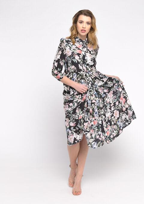 Hemd jurk met bloemenprint - BLACK BEAUTY - 08102162_2600