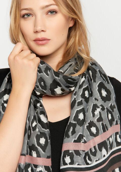 Sjaal met luipaardprint - GREY - 972602