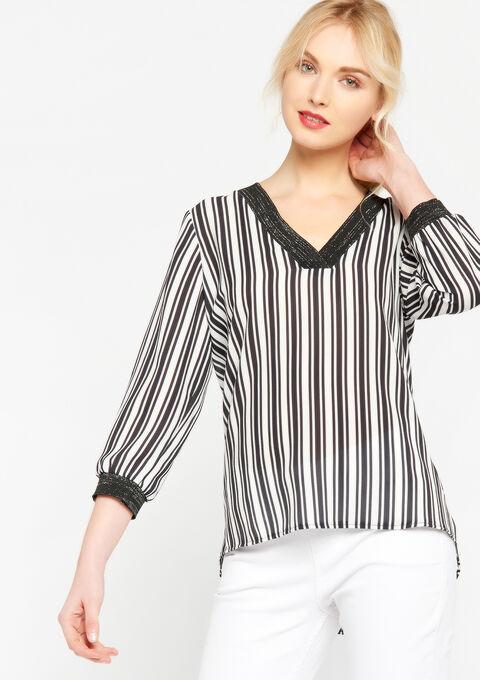 Gestreepte blouse met v-hals - BLACK - 935386