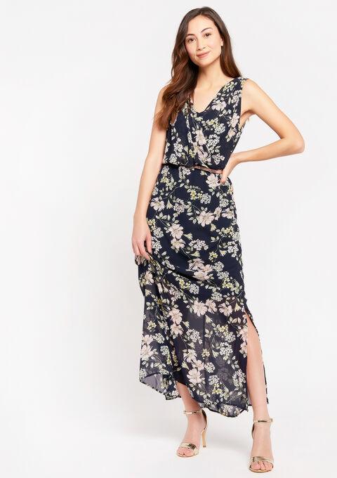 Maxi jurk met bloemenprint - NAVY BLUE - 08601035_1651