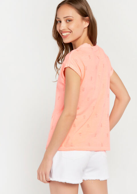 Fluo t-shirt met glanzende ananas-print - FLUO CORAL - 02300396_1262