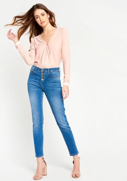 Skinny jeans met knoopsluiting - MEDIUM BLUE MELANGE - 22000059_151
