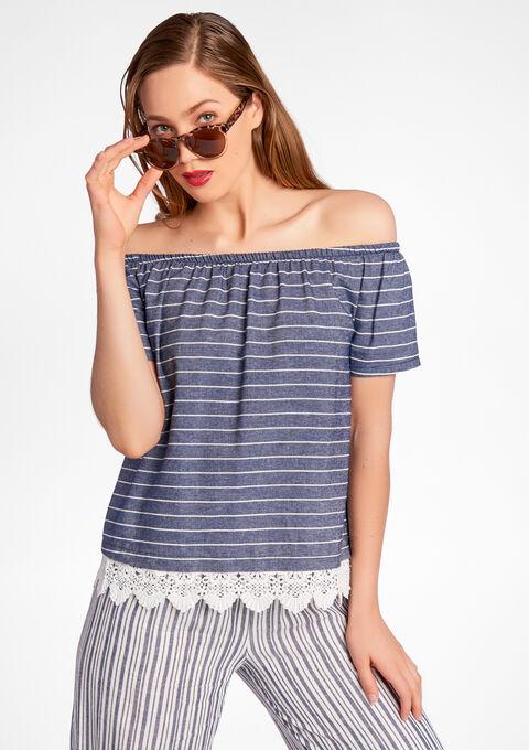 Gestreepte blouse met open schouders - PEACOAT BLUE - 05003526_1655