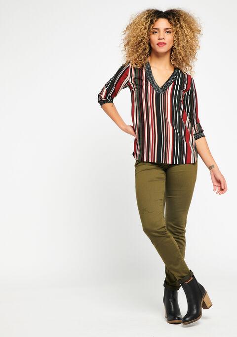 Gestreepte blouse met v-hals - RED RHUBARB - 05700140_1460