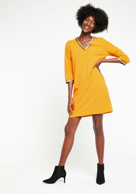 Rechte jurk met v-hals - OCHRE SPICE - 08100417_5102