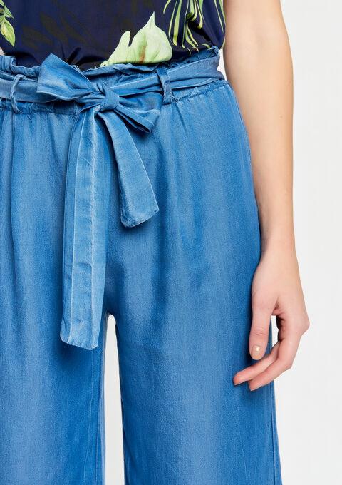 Broek met brede pijpen in tencel - BLUE DENIM - 06600122_1638