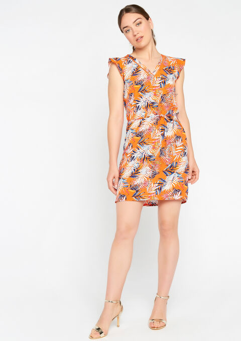 Jurk met v-hals & tropische print - BRIGHT ORANGE - 08100786_088