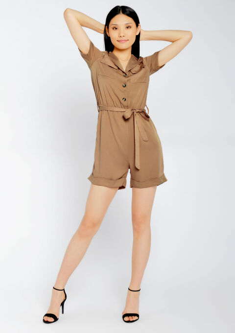 Cargo playsuit - CAMEL ALMOND - 06003973_3807