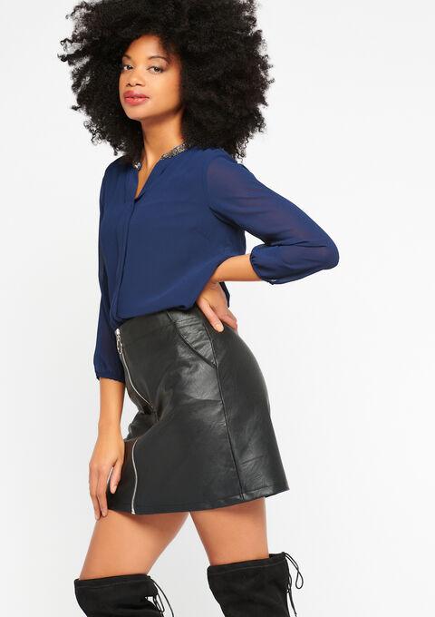 Effen blouse, kraag met lovertjes - NAVY PAPER - 917637